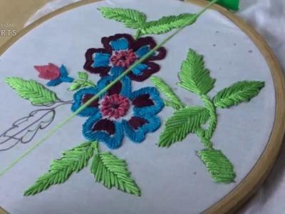 Hand Embroidery Satin & Button hole & Fish bone  Stitches by Amma Arts