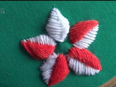 Hand Embroidery:Satin Stitch: Raised Fishbone Stitch: Flower Designs by Amma Arts