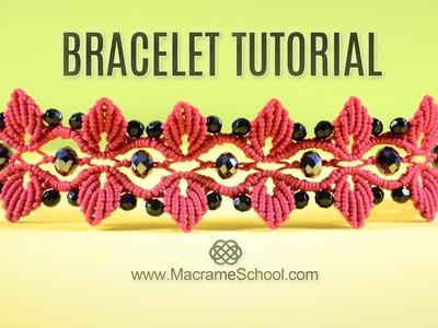 Leaf Bracelet with Swarovski Berries   TUTORIAL Macramé