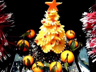 ORANGE CHRISTMAS TREE - ORANGE DECORATION & FRUIT CARVING - ORANGE GARNISH - ART IN ORANGE