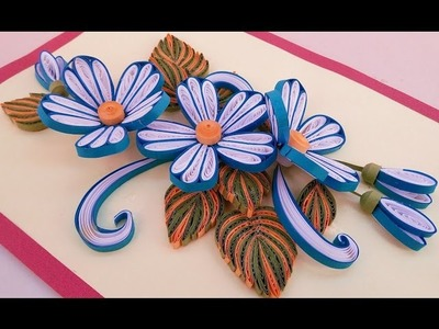 ☑️Paper Quilling ❤ How to make Beautiful Quilling Blue &White Flower design Birthday greeting cards