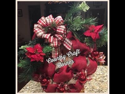 Plaid & Burlap Christmas Wreath