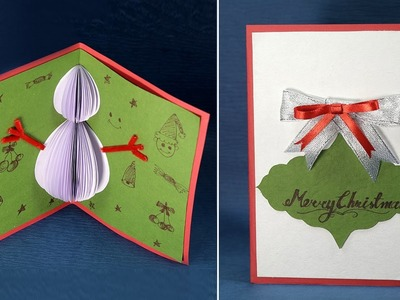 Pop Up Christmas Card- Handmade Snowman Christmas Card