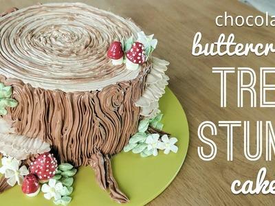 Relaxing cake decorating: all buttercream tree stump cake - piping bark, mushrooms, flowers