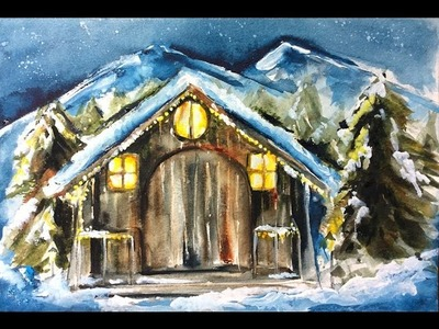 Watercolor Christmas Greeting Card Painting Demonstration