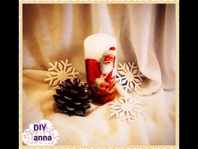 Christmas decoupage candle DIY ideas decorations craft tutorial. URADI SAM