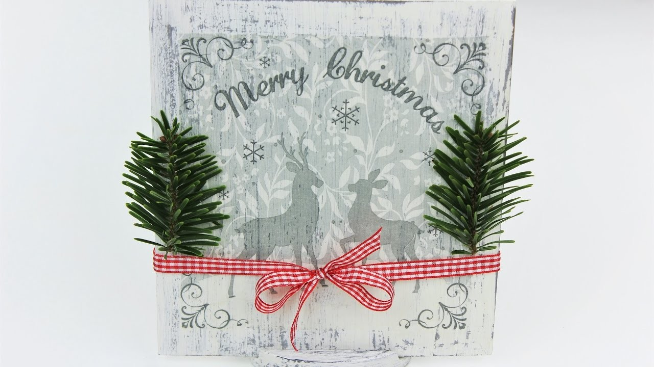 Decoupage Christmas Decorations - Wooden Board - Fast & Easy Tutorial - DIY