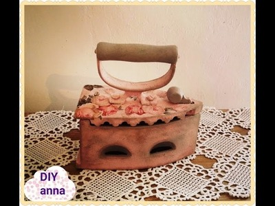 Decoupage vintage iron with roses DIY antique ideas decorations craft tutorial. URADI SAM