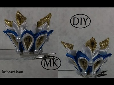 DIY.Christmas tutorial.Kanzashi hair clip.Crown.bricoart.kam