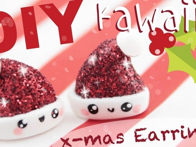 ♡ DIY GLITTER Santa Hat Earrings! ♡ | Kawaii Friday