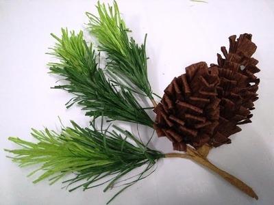 DIY - How to make paper flower - pine nut & leaf by crepe paper