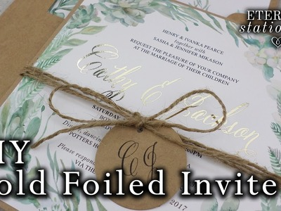 Gold foil DIY Wedding Invitations | Rustic Watercolour Succulents | How to gold foil | Minc