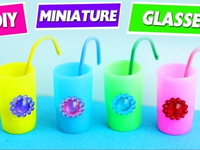 HOW TO MAKE A MINIATURE DOLL GLASSES WITH STRAWS