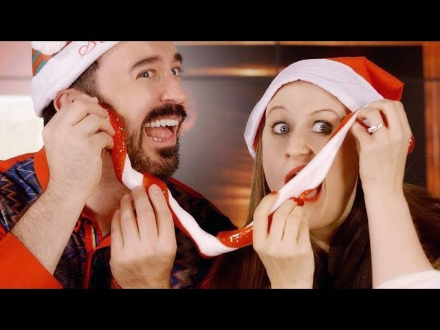 How To Make Candy Cane Slime - Christmas Sensory Toys With Feast of Fun
