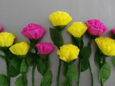 HOW TO MAKE CARNATION USING CREPE PAPER