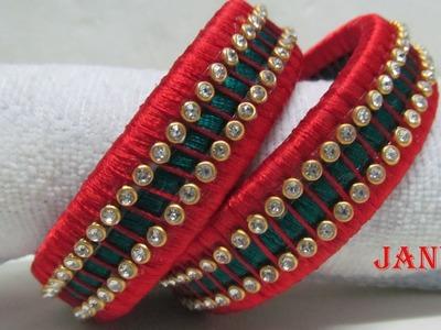 How To Make Multi Colour Silk Thread Designer Bangles - Design 6