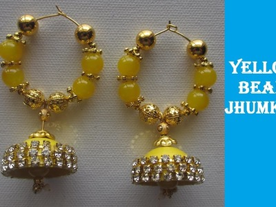 How to make Quilling Earrings | Jhumkas | 6 minutes | Yellow and Beads | DIY