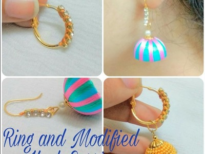 How To Make Ring And Hook Modified Earring At Home -Tutorial (2 TYPE)