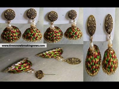 How to make silk thread jhumkas | silk thread jhumkas tutorial, silk thread earrings models, diy
