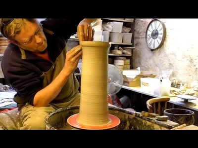 How to Make. Throw a Tall Pottery Cylinder  on the Wheel