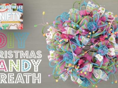 Nifty - DIY | Deco Mesh Christmas Candy Wreath | DIY Christmas