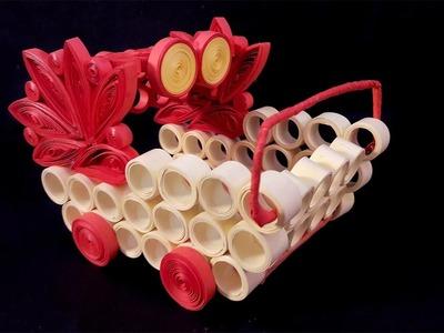Paper Quilling Craft Tutorial # 10 - Learn Beautiful Cart Making @ ekunji.com