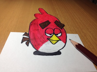 3D Angry Bird Drawing, Anamorphic Illusion