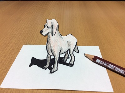 3D Puppy Dog Drawing, Freehand Time Lapse