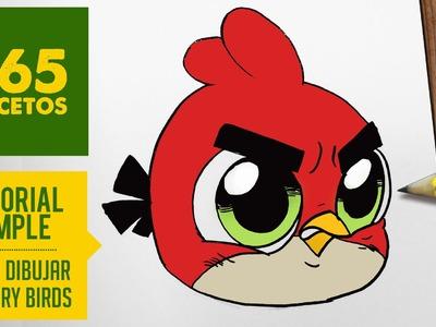COMO DIBUJAR AL ANGRY BIRD ROJO KAWAII PASO A PASO - Dibujos kawaii faciles - draw  Angry Bird Red