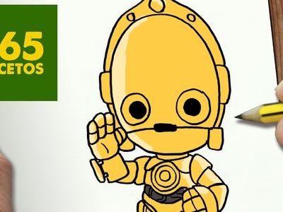 COMO DIBUJAR C 3PO KAWAII PASO A PASO - Dibujos kawaii faciles - How to draw a C 3PO