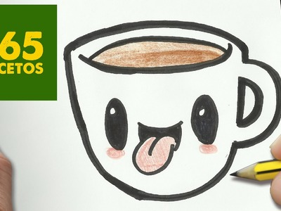 COMO DIBUJAR CAFE KAWAII PASO A PASO - Dibujos kawaii faciles - How to draw a COFFEE