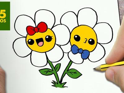 COMO DIBUJAR FLORES KAWAII PASO A PASO - Dibujos kawaii faciles - How to draw a Flowers