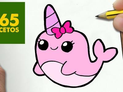 COMO DIBUJAR NARVAL KAWAII PASO A PASO - Dibujos kawaii faciles - How to draw a NARWHAL