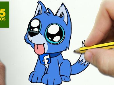 COMO DIBUJAR PERRO FACEBOOK KAWAII PASO A PASO - Dibujos kawaii faciles - How to draw a FACEBOOK DOG