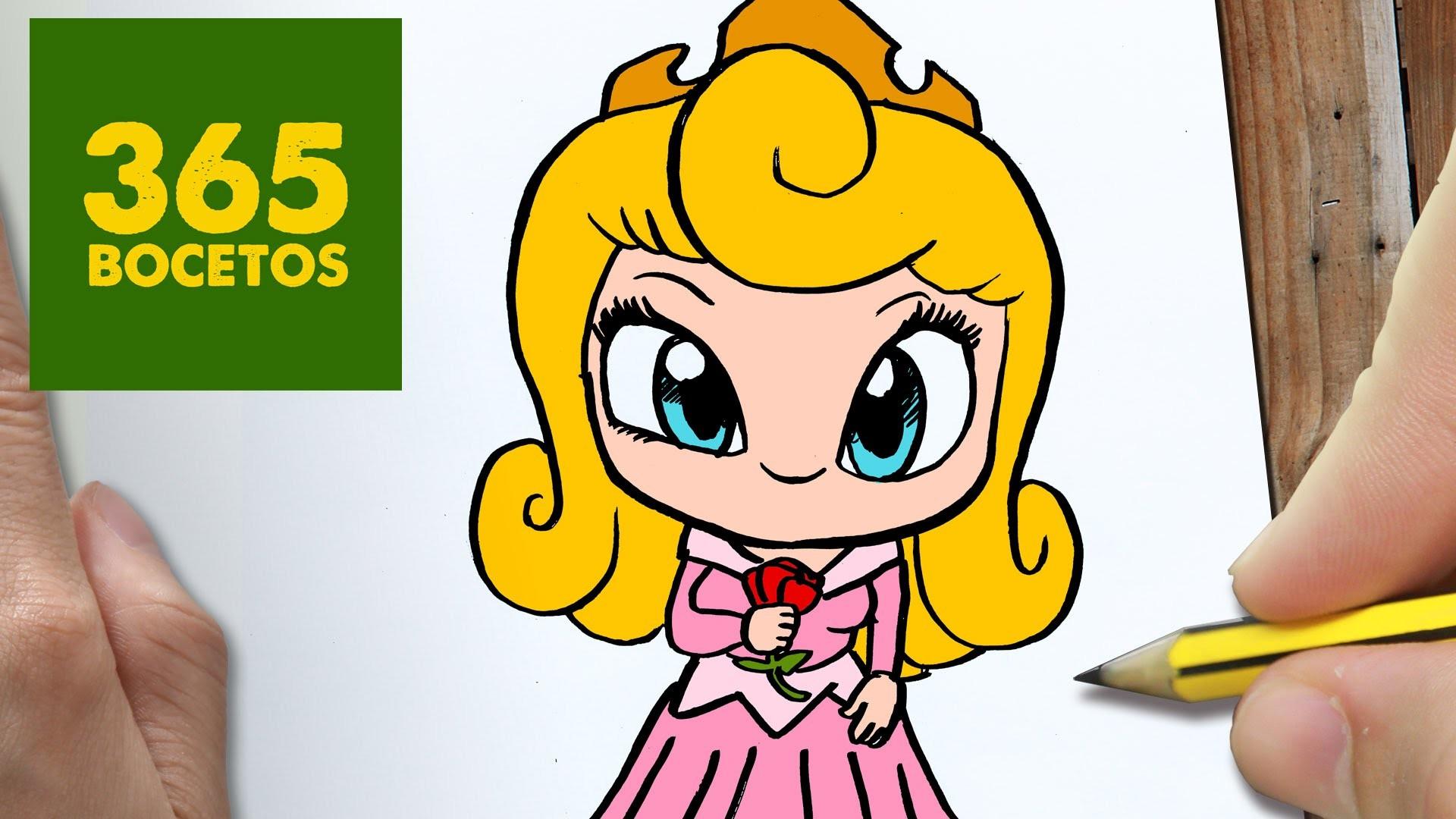 Princesa Aurora Para Colorear: COMO DIBUJAR Princesa Aurora KAWAII PASO A PASO