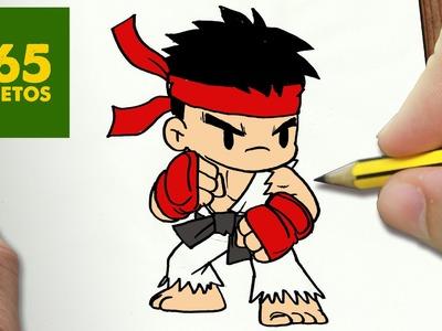 COMO DIBUJAR RYU KAWAII PASO A PASO - Dibujos kawaii faciles - How to draw RYU