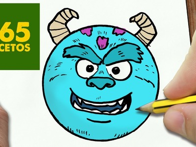 COMO DIBUJAR SULLEY EMOTICONOS WHATSAPP KAWAII PASO A PASO - Dibujos kawaii fáciles