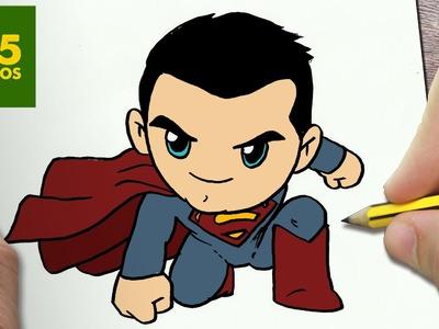 COMO DIBUJAR SUPERMAN KAWAII PASO A PASO - Dibujos kawaii faciles - How to draw a SUPERMAN