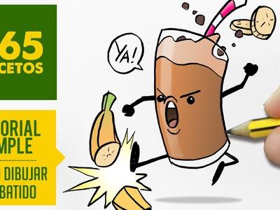 COMO DIBUJAR UN BATIDO KAWAII PASO A PASO - Dibujos kawaii faciles - How to draw a banana smoothie