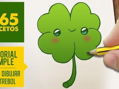 COMO DIBUJAR UN TREBOL KAWAII PASO A PASO - Dibujos kawaii faciles - How to draw a clover