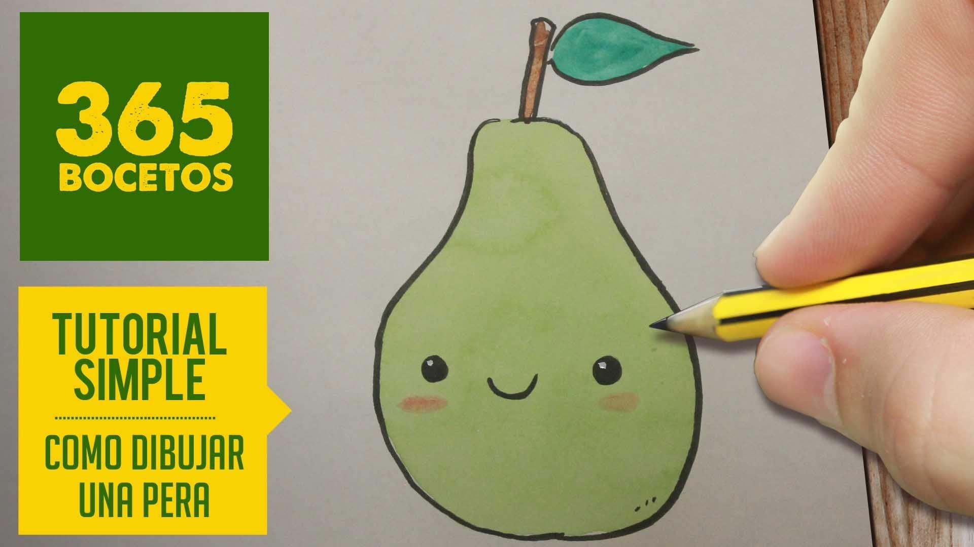 COMO DIBUJAR UNA PERA KAWAII PASO A PASO - Dibujos kawaii faciles - How to draw a pear