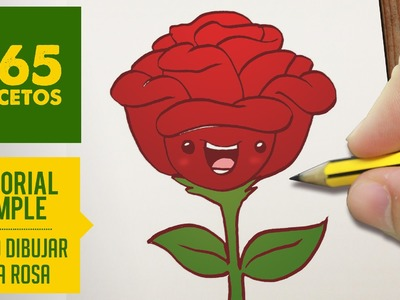 COMO DIBUJAR UNA ROSA KAWAII PASO A PASO - Dibujos kawaii faciles - How to draw a rose