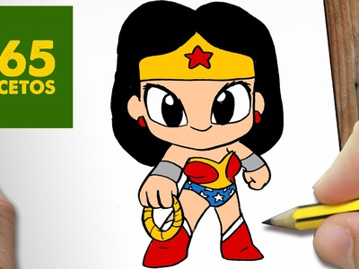 COMO DIBUJAR WONDER WOMAN KAWAII PASO A PASO - Dibujos kawaii faciles - How to draw a Wonder Woman