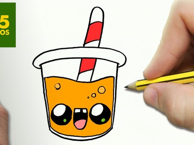 COMO DIBUJAR ZUMO DE NARANJA KAWAII PASO A PASO - Dibujos kawaii faciles - draw a ORANGE JUICE