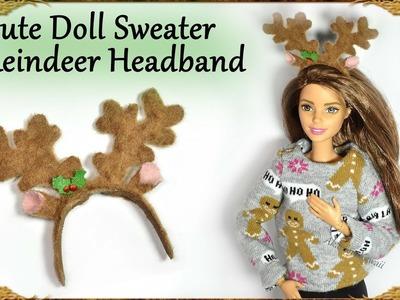 Cute Miniature Christmas Doll Sweater & Reindeer Headband - Tutorial