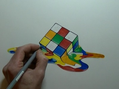 Drawing 3D rubik's Cube - effect melted - Time Lapse