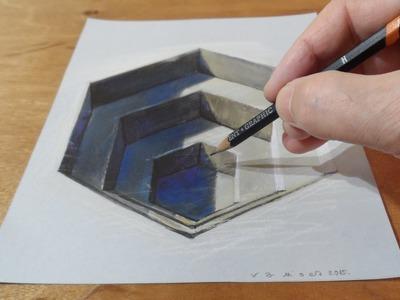 Drawing a 3D Hexagonal Hole, Trick Art