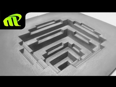 Drawing a 3D Square Hole - Anamorphic Illusion | Trick Art