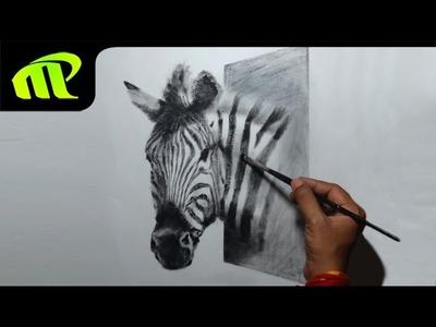Drawing a 3D zebra |  Trick Art - Time Lapse