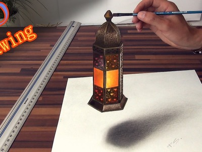 Drawing of a realistic lantern in 3D effect.anamorphic illusion